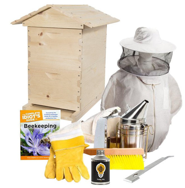 Pine beekeeping starter kit with ventilated jacket