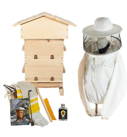 Sugar pine Warre hive starter kit with non-ventilated jacket