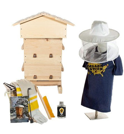 Sugar pine Warre hive starter kit with veil