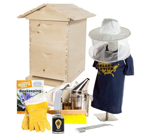 Pine beekeeping starter kit with hat veil combo