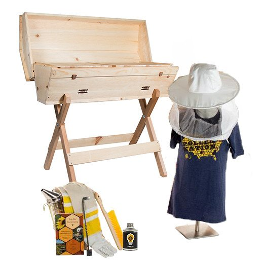Top bar hive starter kit with hat veil