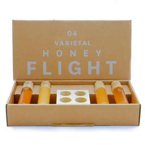 flight of different honey flavors