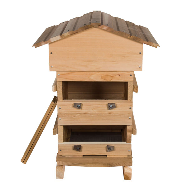 Cedar Warre Hive showing windows open and optional feet