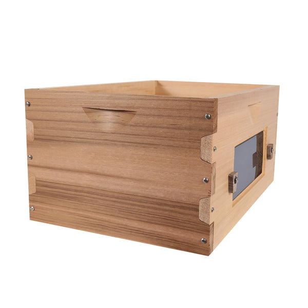 Cedar deep box with window open