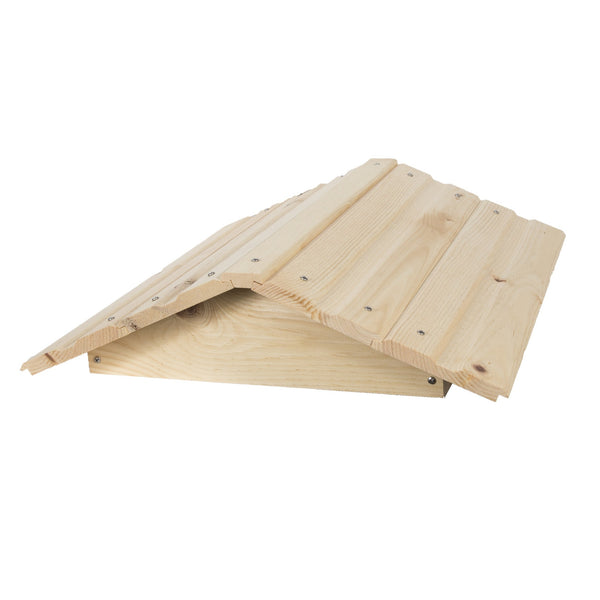 Pine peaked roof with shingles