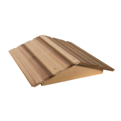 Telescoping cedar peaked roof with shingles