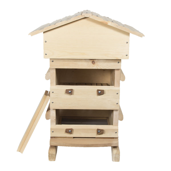 Assembled sugar pine Warre hive windows open