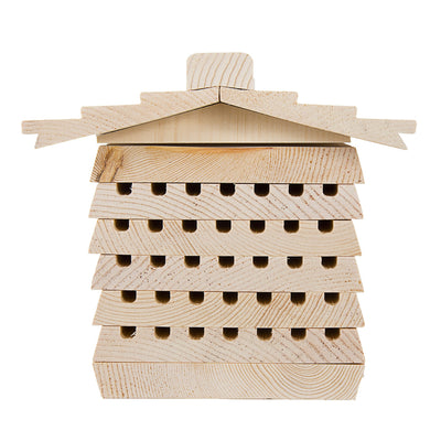 Mason Bee Nesting Tray House with Shingled Roof