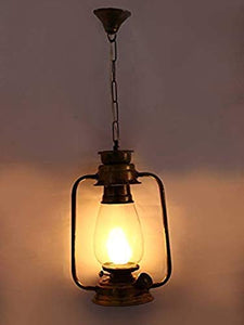 Cruv Heritage Vintage Design Lantern Style Ceiling Hanging Pendant Lamp Antique Rust Finish with Clear Glass for Living Room, Bedroom, Drawing Room, Home,Restaurant,Cafe (Without Bulb)