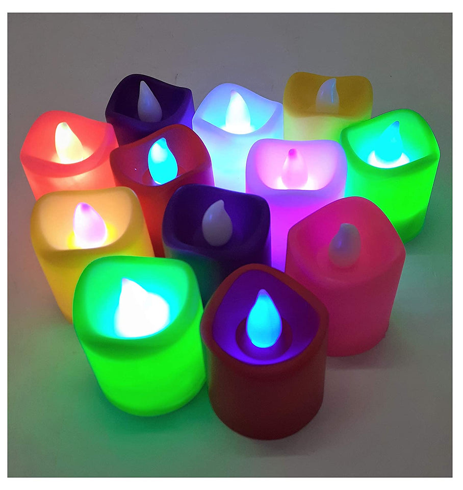 Colour Changing led Lights Candles for Outdoor Indoor and Home Decoration (Batteries Included) Set of 12 Multi Color