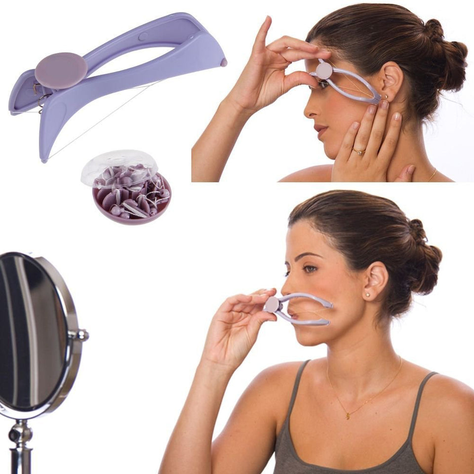 Inditradition Face and Body Hair Threading Kit | Eyebrow & Facial Hair Removal Tweezer Tool (Purple,Grey)