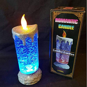 parikshit sublimation Changing Battery Operated Decorative LED Glowing Light Water Glitter Swirling Spinner Electric Romantic Candle for Celebrate Birthday Party