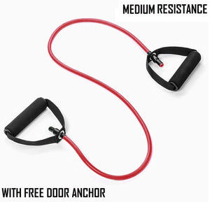 House of Quirk Resistance Tube Exercise Bands for Stretching with Door Anchor, Workout, and Toning for Men, and Women