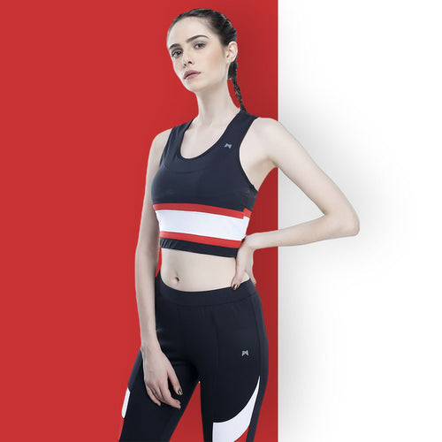 Black With Red And White Panel Bra Top | https://www.muscletorque.shop
