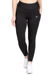 Yoga/Gym High Waist Tight Pocket Style - Solid Black