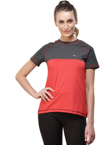 Women Polyester T-Shirt - Black & Red