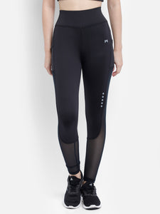 Gym/Yoga Medium Waist Mesh Tight - Black & Mesh