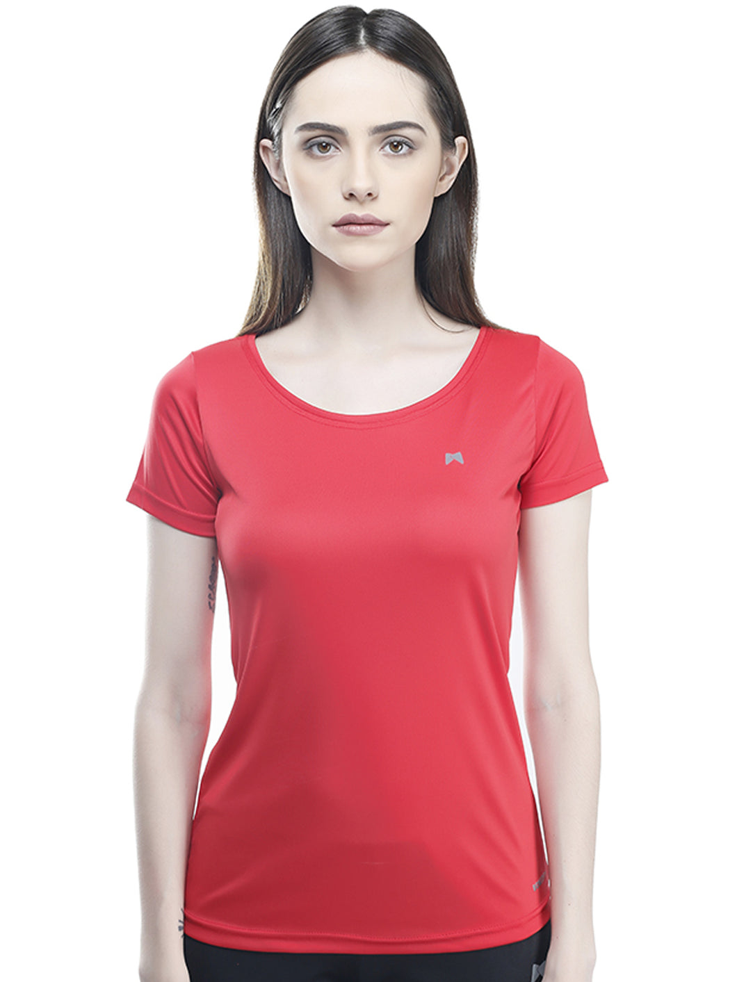 Women Deep Neck Polyester T-Shirt - Red