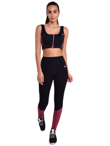 Gym/Yoga High Waist Tight with Front Zip Sports Bra Complete Set (BM)