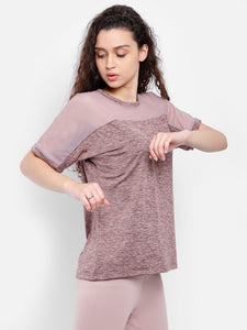 Round Neck Free Style Polyester T-Shirt - Brown