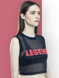 Crop Top : Legend Black Mesh - Black