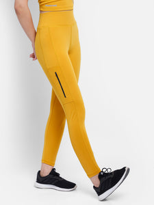 Gym/Yoga High Waist Side Zip Style Tight  - Yellow