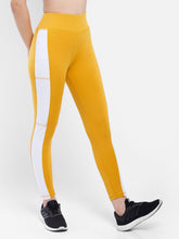 Load image into Gallery viewer, Gym/Yoga High Waist Side White Strap Style Tight  - Yellow (Mustered) & White