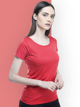 Load image into Gallery viewer, Women Deep Neck Polyester T-Shirt - Red