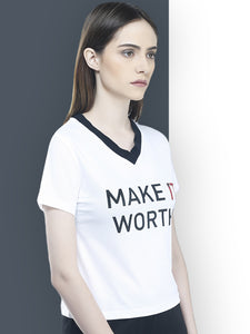 Women White & Black Rib T-Shirt -White