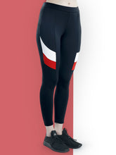 Load image into Gallery viewer, Gym/Yoga Tights White & Red Design on side - Black