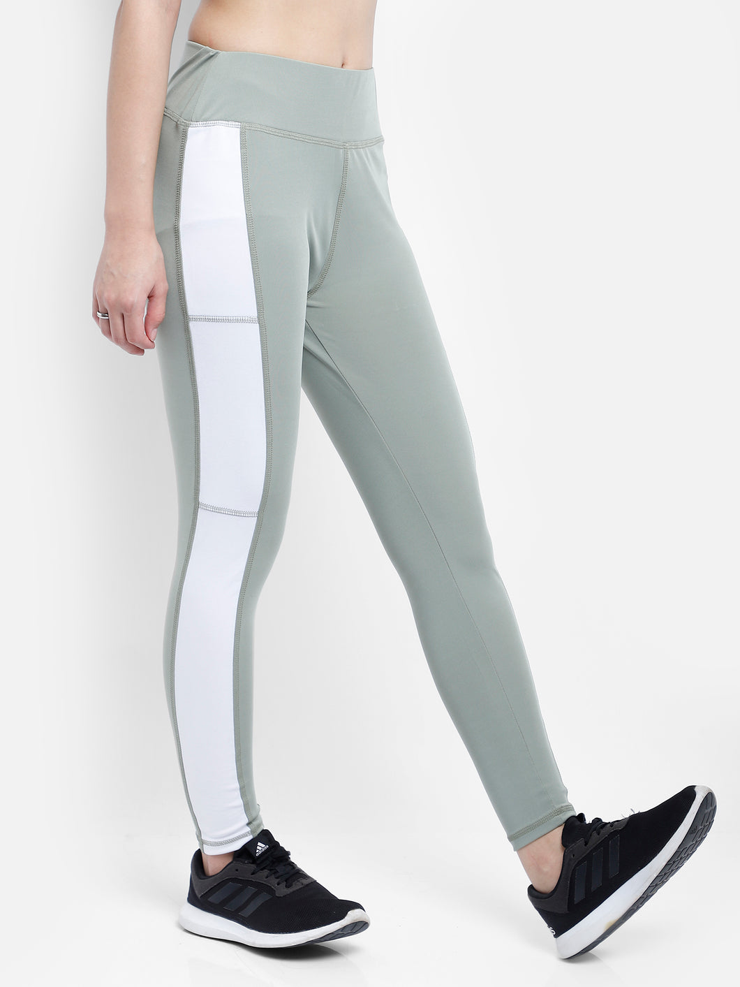 Gym/Yoga High Waist Side White Strap Style Tight  - Light Green & White