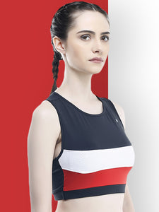 Sports Bra : Black Yoke With Red And White Panel