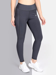Gym/Yoga High Waist Tights side Pocket - Solid Grey