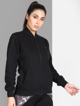 Load image into Gallery viewer, Women Fleece Sweatshirt front Zip & Pocket Style - Solid Black
