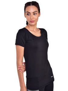 Muscle Torque Solid Women Round Deep Neck Black T-Shirt