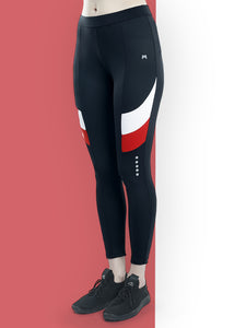 Gym/Yoga Tights White & Red Design on side - Black