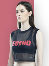 Load image into Gallery viewer, Crop Top : Legend Black Mesh - Black