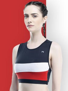Running/Workout Sports Bra :  Yoke White & Red - Black