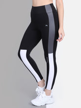 Load image into Gallery viewer, Gym/Yoga High Waist Tight Side White & Grey Strap - Black