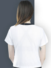 Load image into Gallery viewer, Women White & Black Rib T-Shirt -White