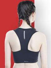 Load image into Gallery viewer, Running/Workout Sports Bra :  Yoke White & Red - Black