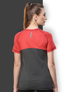Women Polyester T-Shirt - Red & Black
