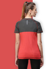 Load image into Gallery viewer, Women Polyester T-Shirt - Black & Red