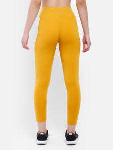 Gym/Yoga Medium Waist Both Side White Trialing Panel Tight  - Yellow & White