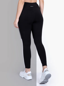Gym/Yoga High Waist Tight Side White & Grey Strap - Black