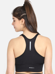 Running/Workout High Impact Adjustable Sports Bra - Solid Black