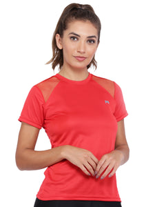 Women Rice Knit Polyester T-Shirt -Red