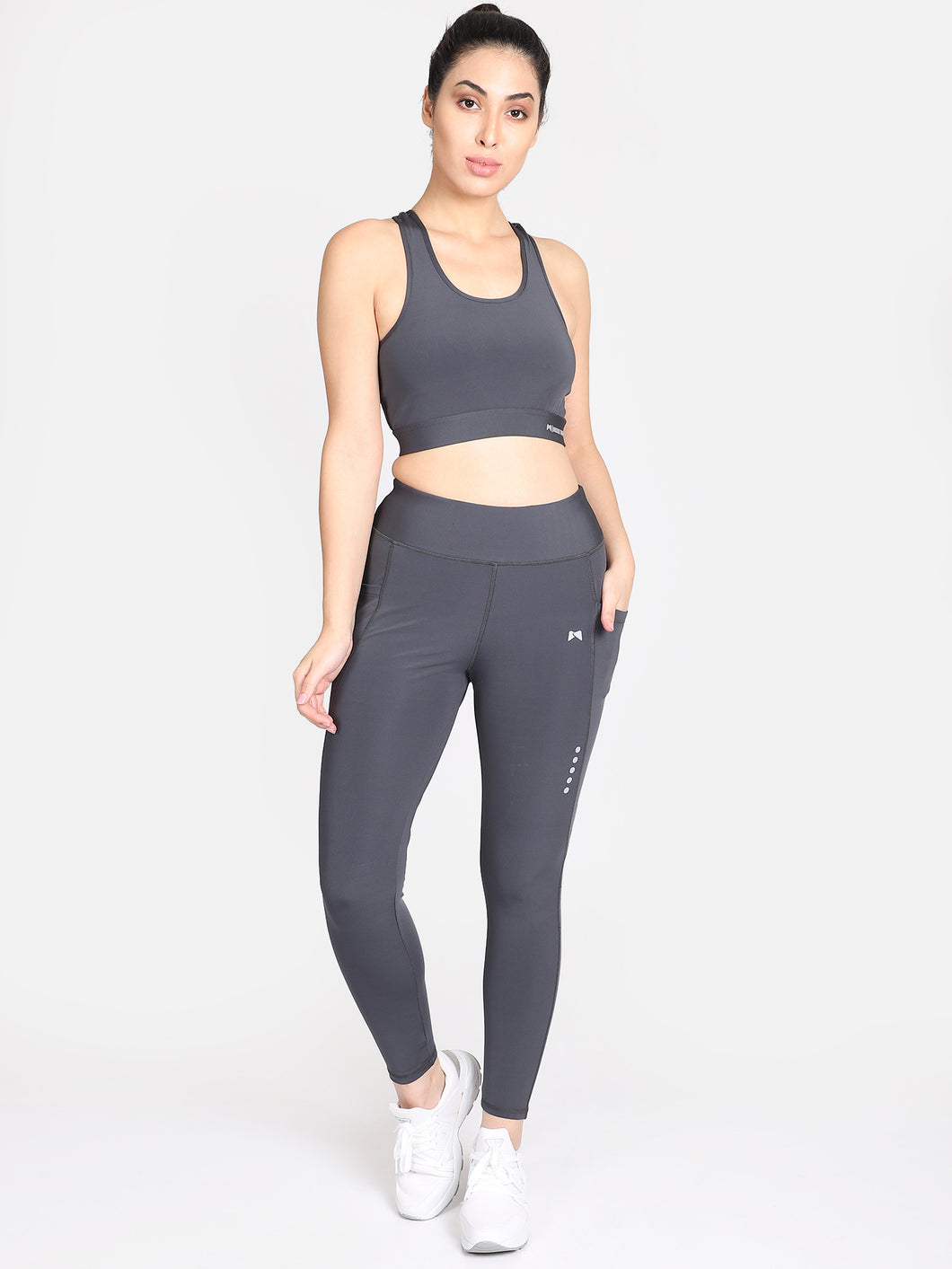 Gym/Yoga Tight With Sports Bra Grey Complete Set