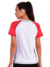 Load image into Gallery viewer, Women T-shirt Mesh -White & Red