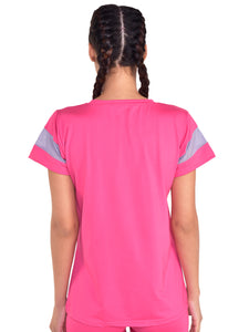Half Sleeve T-Shirt Mesh On Chest - Pink